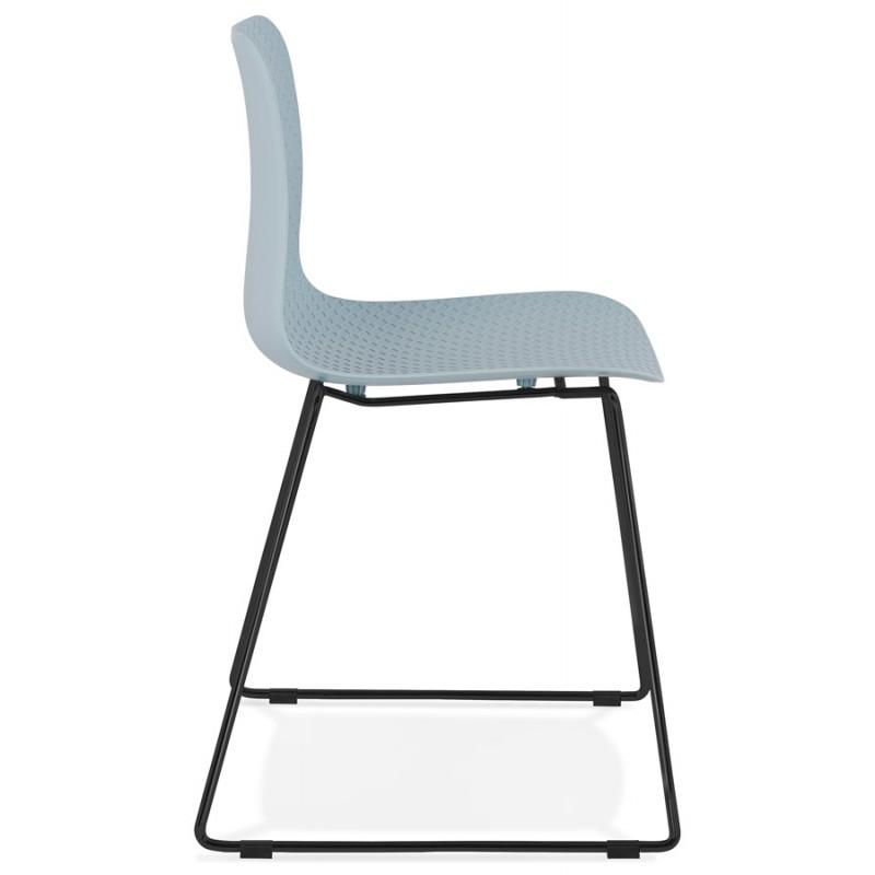 Chaise moderne empilable pieds métal noir ALIX (bleu ciel) - image 47907