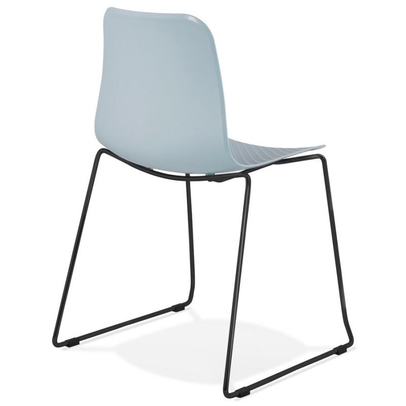 Chaise moderne empilable pieds métal noir ALIX (bleu ciel) - image 47908