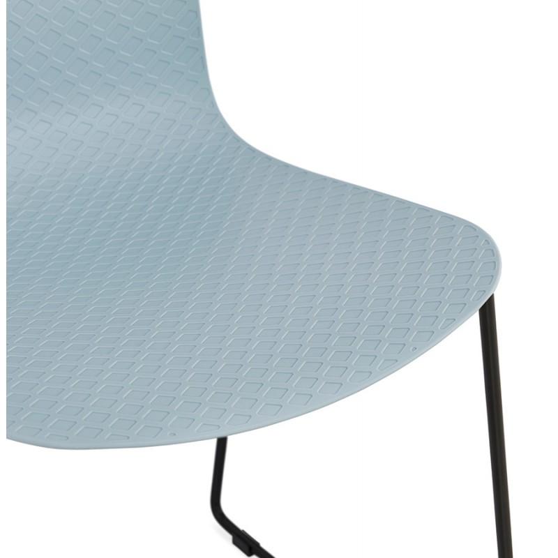 Chaise moderne empilable pieds métal noir ALIX (bleu ciel) - image 47911