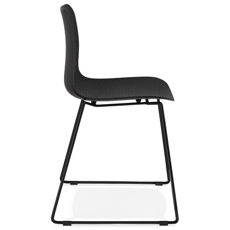 Chaise moderne empilable pieds métal noir ALIX (noir) - image 47916