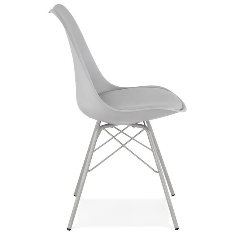 Chaise design style industriel SANDRO (gris clair) - image 47925