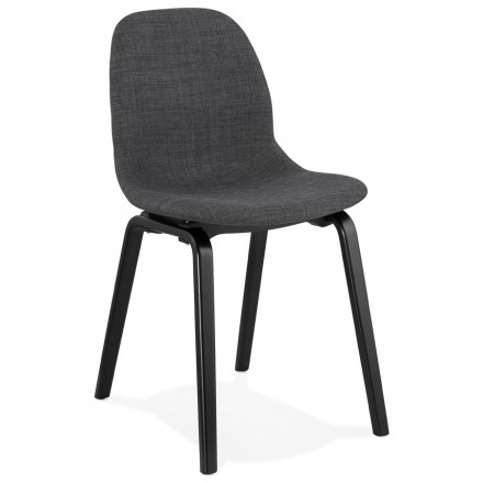 Design and contemporary chair in black wooden foot fabric MARTINA (anthracite grey)