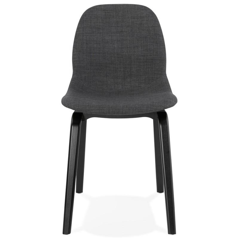 Chaise design et contemporaine en tissu pieds bois noir MARTINA (gris anthracite) - image 47937