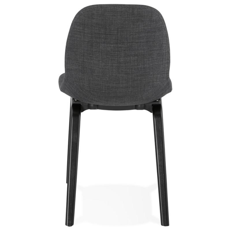 Chaise design et contemporaine en tissu pieds bois noir MARTINA (gris anthracite) - image 47940