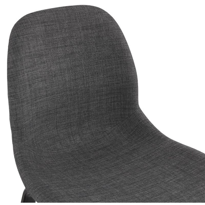 Chaise design et contemporaine en tissu pieds bois noir MARTINA (gris anthracite) - image 47941