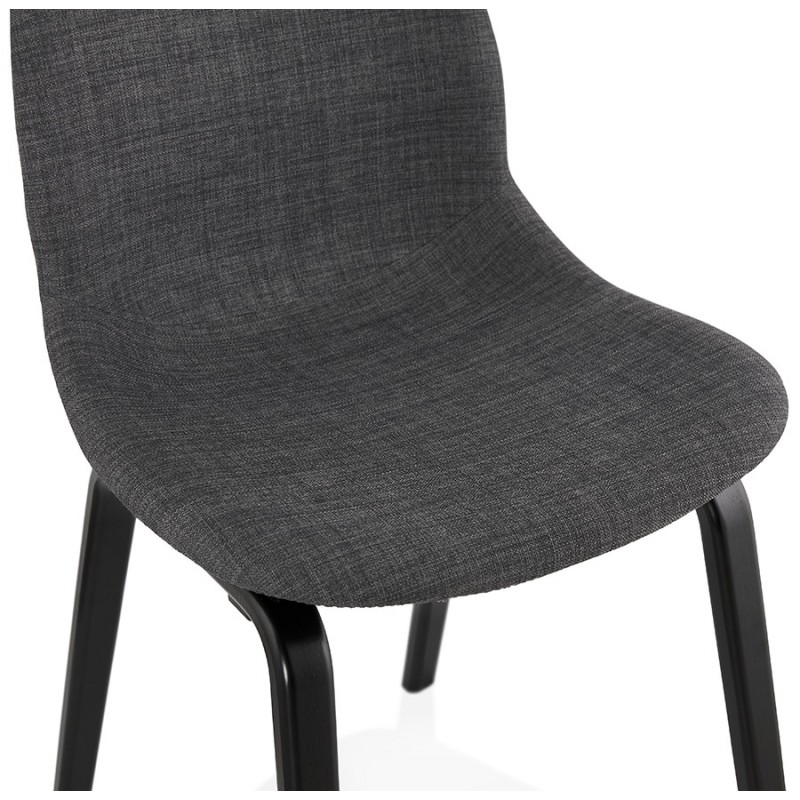Chaise design et contemporaine en tissu pieds bois noir MARTINA (gris anthracite) - image 47942