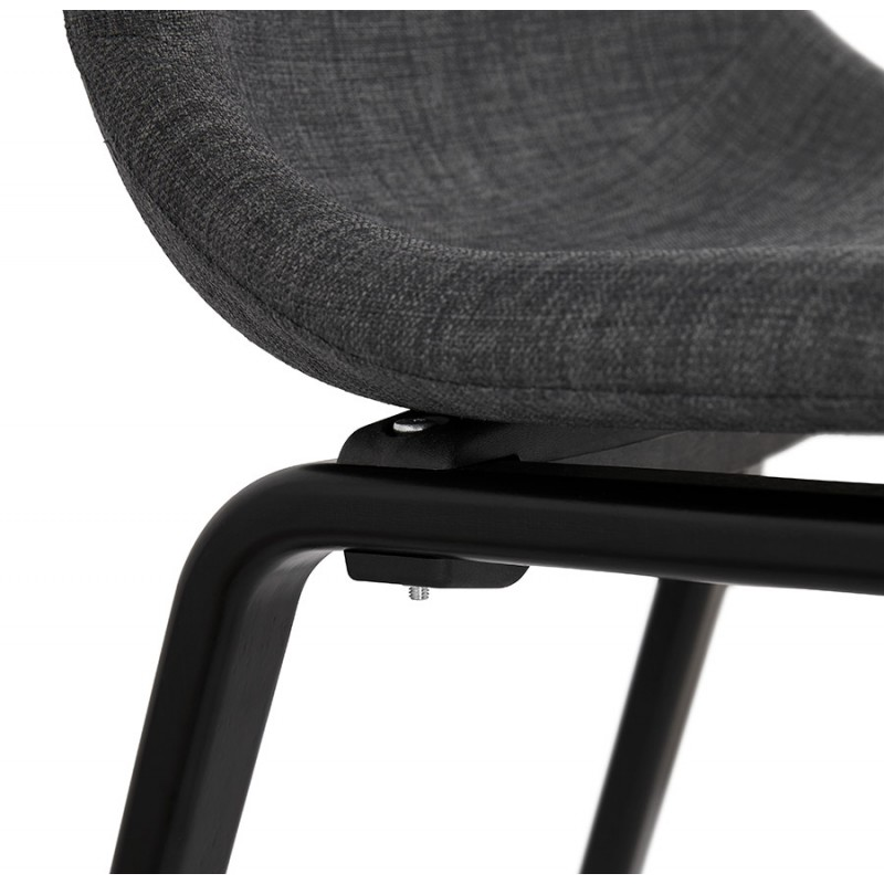 Chaise design et contemporaine en tissu pieds bois noir MARTINA (gris anthracite) - image 47944