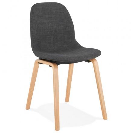 Chaise design et scandinave en tissu pied bois finition naturelle MARTINA (gris anthracite)