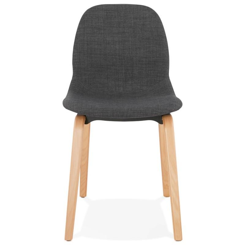Chaise design et scandinave en tissu pied bois finition naturelle MARTINA (gris anthracite) - image 47950