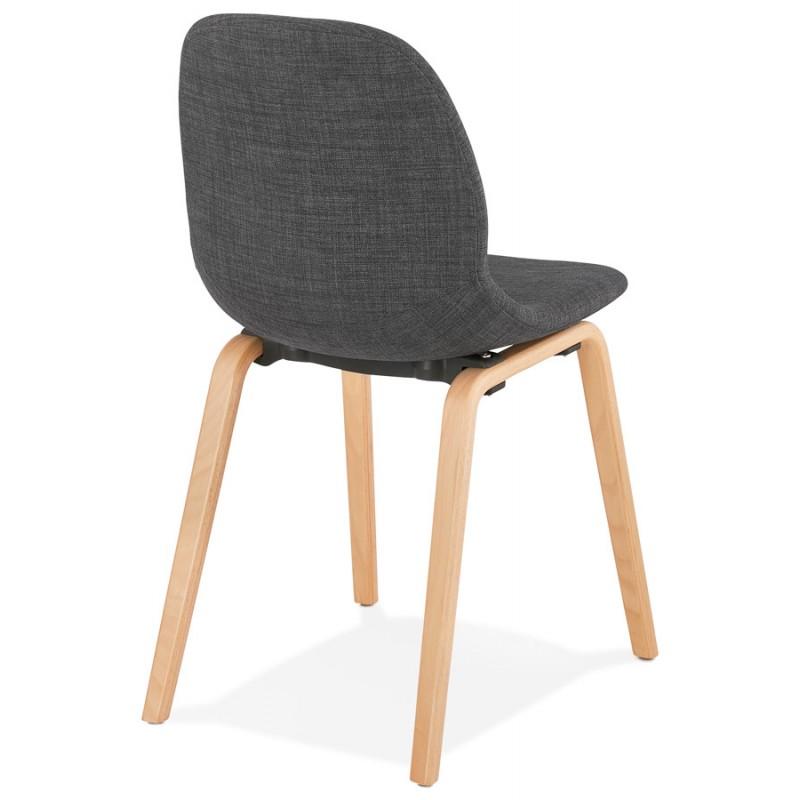 Chaise design et scandinave en tissu pied bois finition naturelle MARTINA (gris anthracite) - image 47952