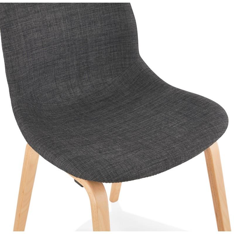 Chaise design et scandinave en tissu pied bois finition naturelle MARTINA (gris anthracite) - image 47955