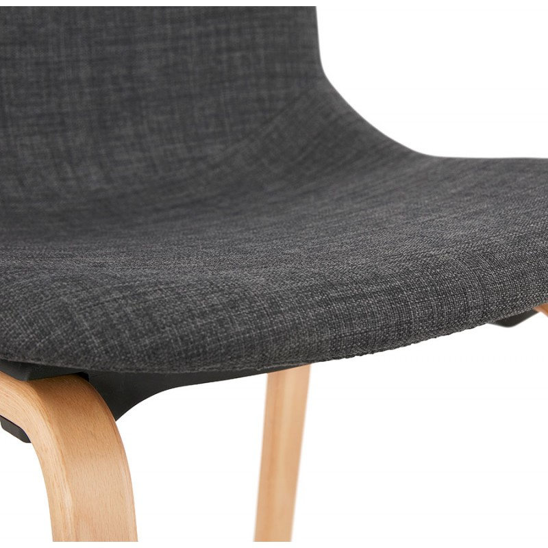 Chaise design et scandinave en tissu pied bois finition naturelle MARTINA (gris anthracite) - image 47956