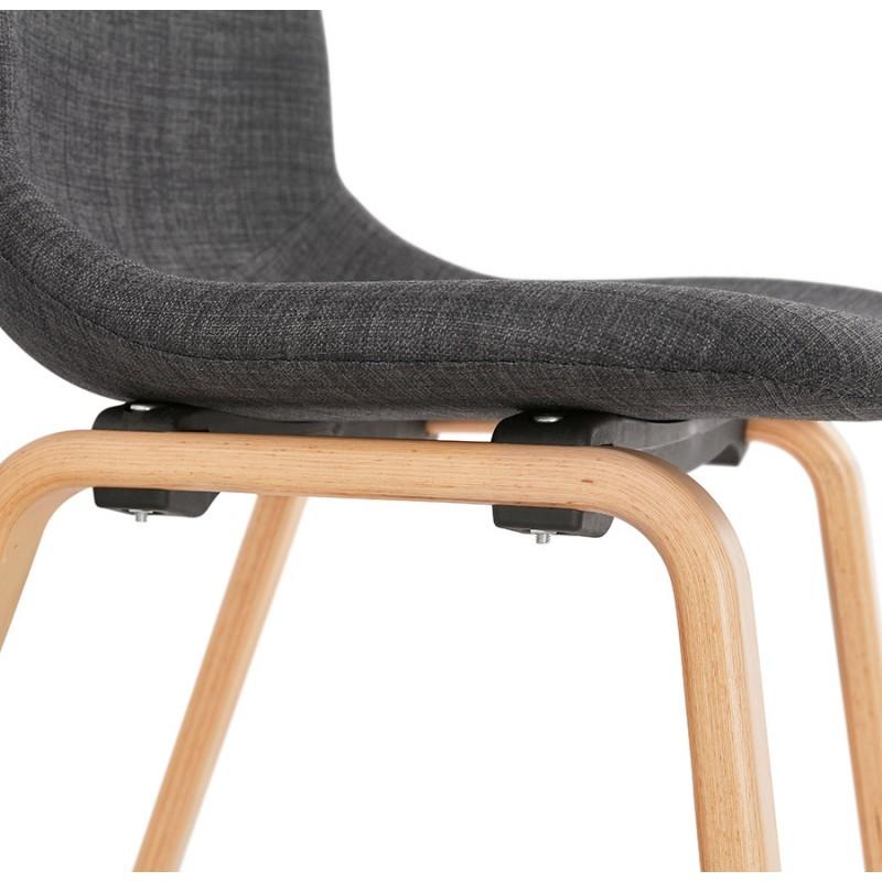 Chaise design et scandinave en tissu pied bois finition naturelle MARTINA (gris anthracite) - image 47957