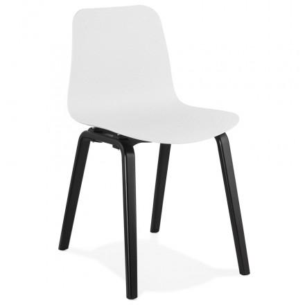 Chaise design pieds bois noir SANDY (blanc)