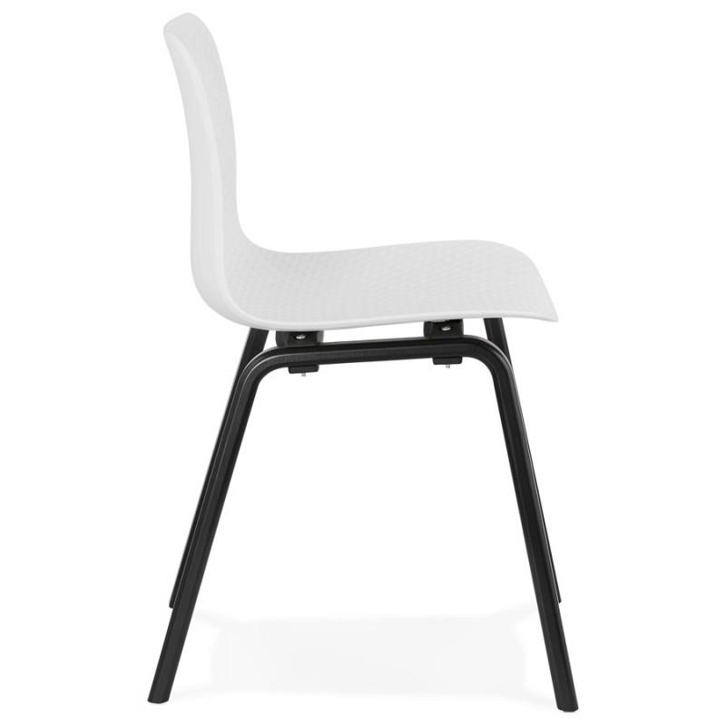 Chaise design pieds bois noir SANDY (blanc) - image 47981