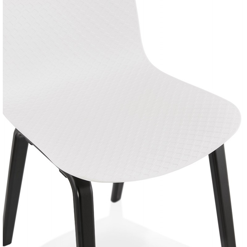 Sandy black wooden foot design chair (white) - image 47984