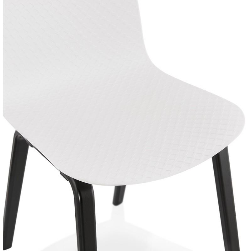 Chaise design pieds bois noir SANDY (blanc) - image 47984