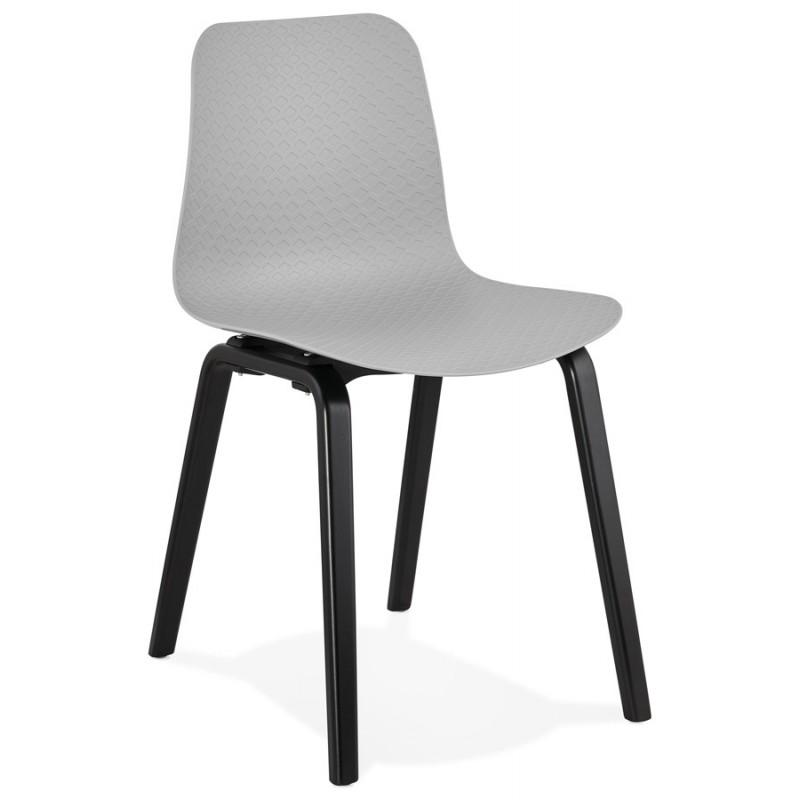 Chaise design pieds bois noir SANDY (gris clair)