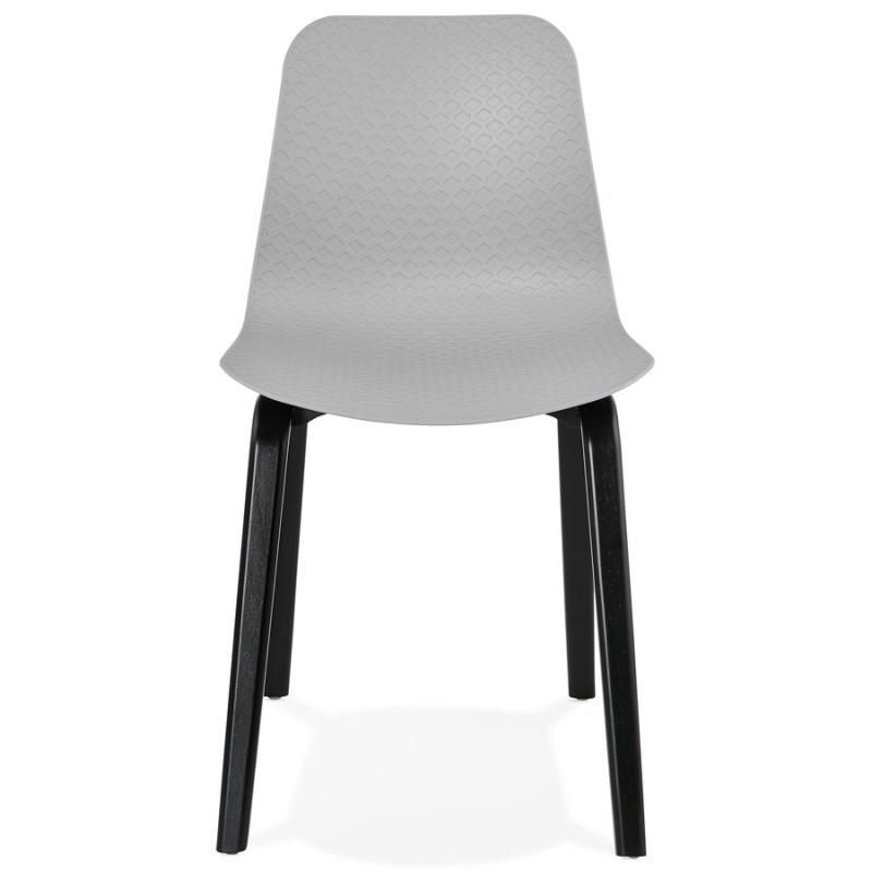 Chaise design pieds bois noir SANDY (gris clair) - image 47995