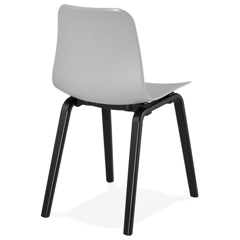 Chaise design pieds bois noir SANDY (gris clair) - image 47997