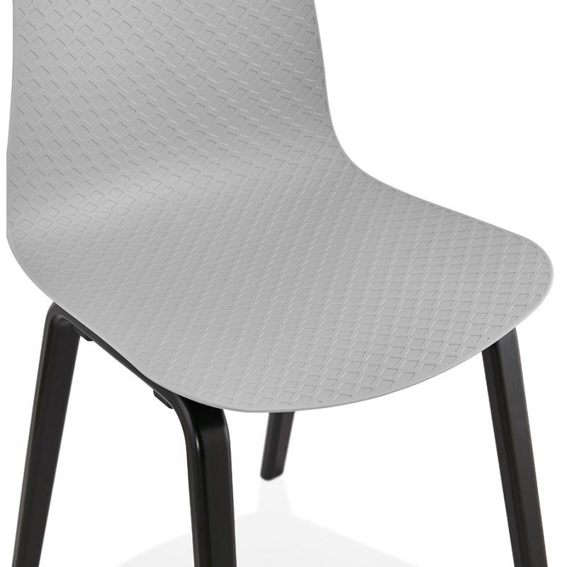 Chaise design pieds bois noir SANDY (gris clair) - image 48000