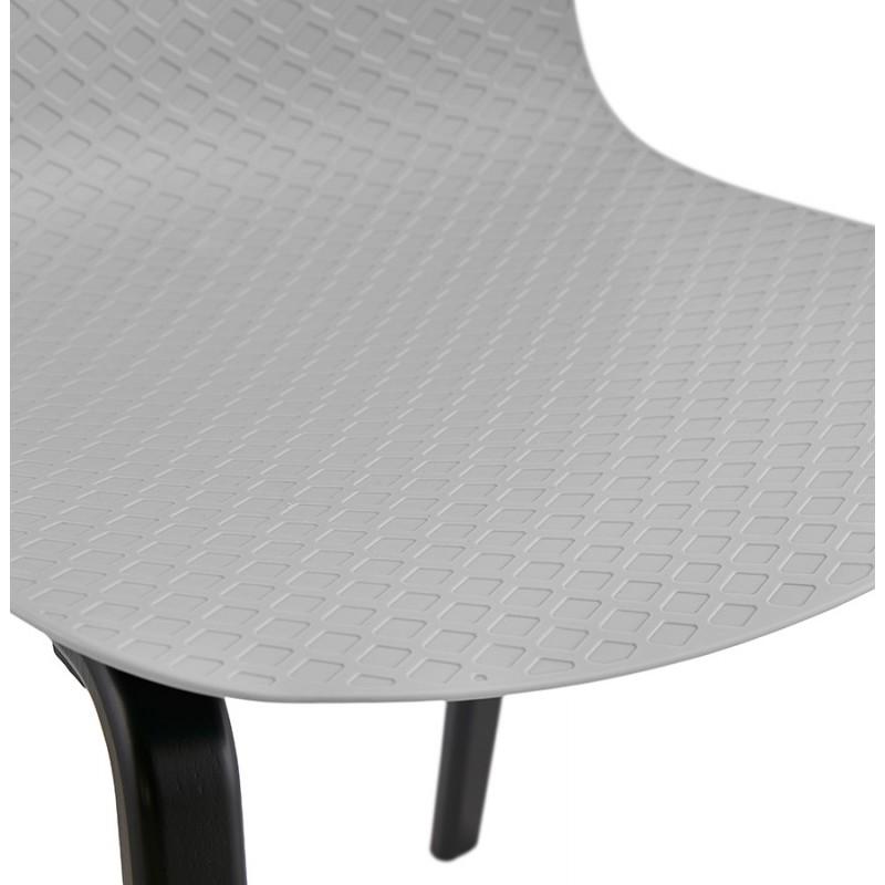 Chaise design pieds bois noir SANDY (gris clair) - image 48001