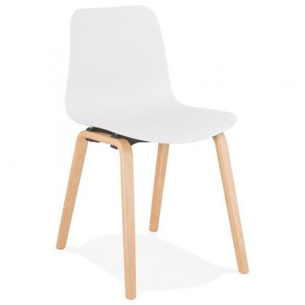 Chaise design scandinave pied bois finition naturelle SANDY (blanc)
