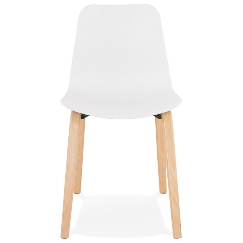 Chaise design scandinave pied bois finition naturelle SANDY (blanc) - image 48010