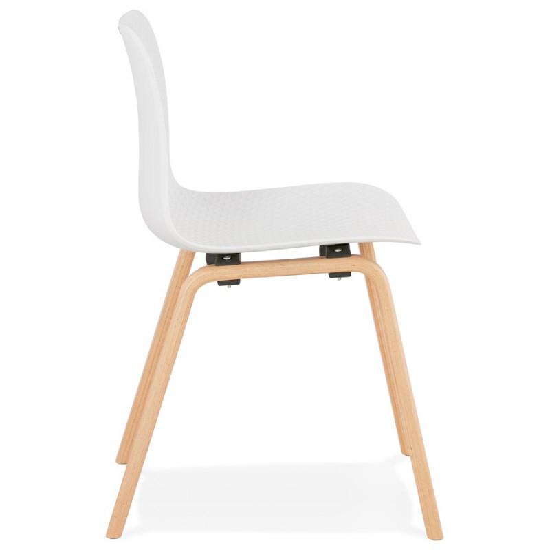 Chaise design scandinave pied bois finition naturelle SANDY (blanc) - image 48011