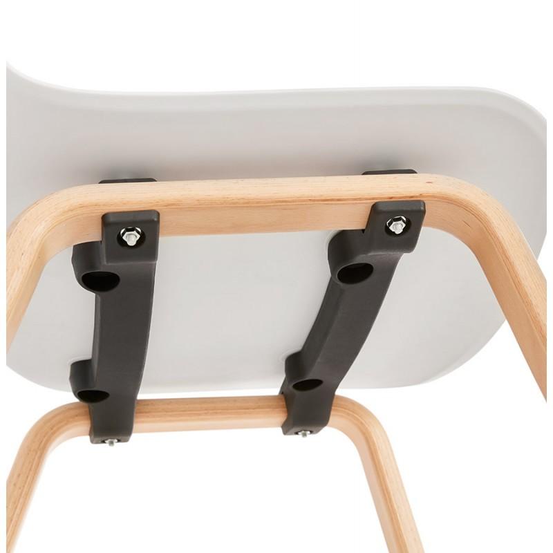 Chaise design scandinave pied bois finition naturelle SANDY (blanc) - image 48019