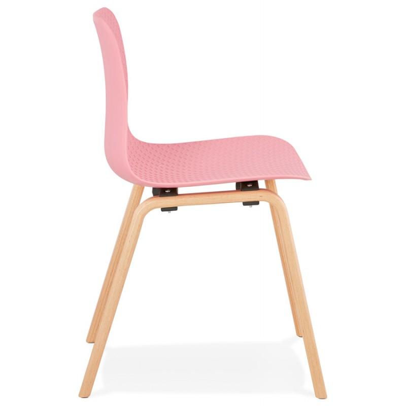 Silla de diseño escandinavo pie madera acabado natural SANDY (rosa) - image 48025