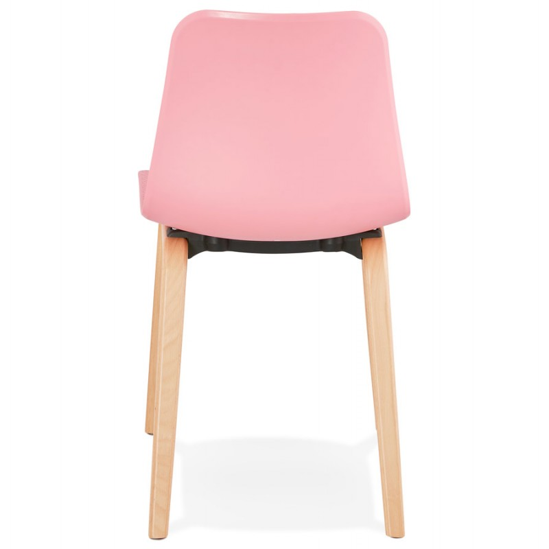 Chaise design scandinave pied bois finition naturelle SANDY (rose) - image 48027