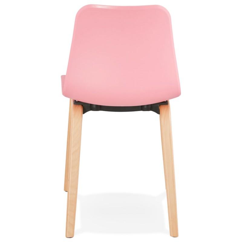 Silla de diseño escandinavo pie madera acabado natural SANDY (rosa) - image 48027