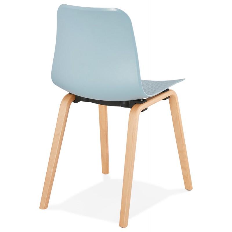 Chaise design scandinave pied bois finition naturelle SANDY (bleu ciel) - image 48041
