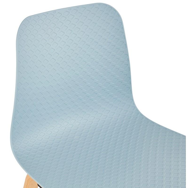 Chaise design scandinave pied bois finition naturelle SANDY (bleu ciel) - image 48043