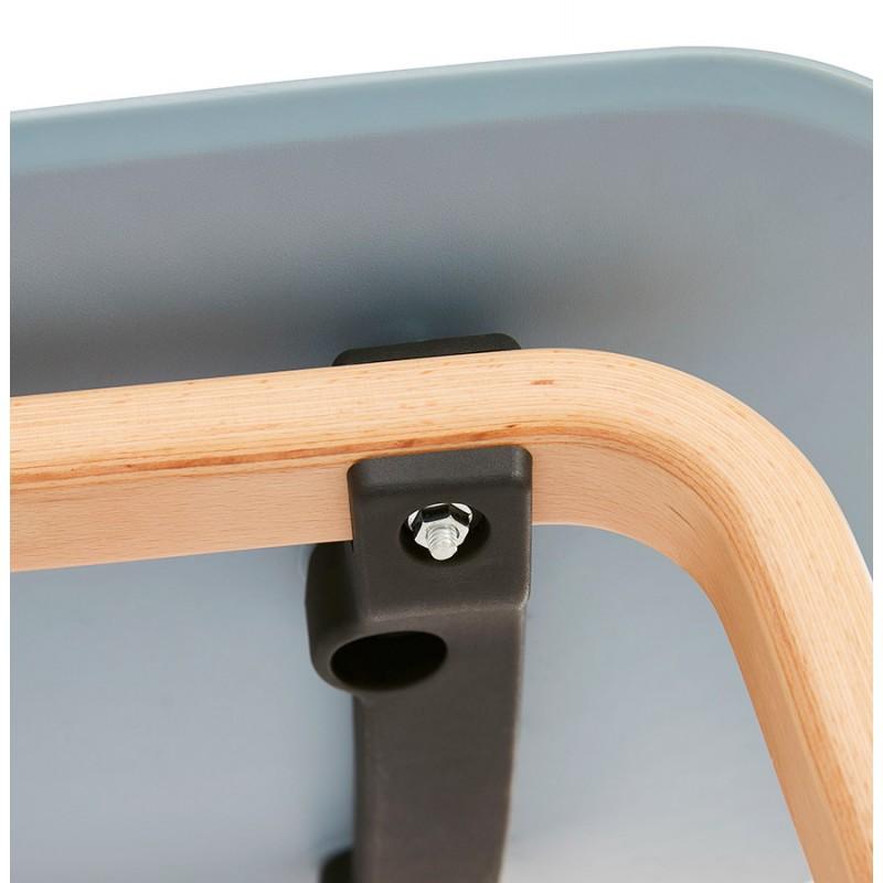 Chaise design scandinave pied bois finition naturelle SANDY (bleu ciel) - image 48049