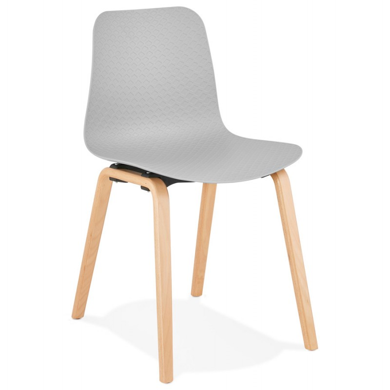 Chair design Scandinavian foot wood natural finish SANDY (light grey) - image 48053