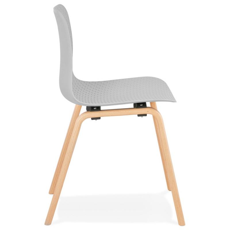 Stuhl Design skandinavischen Fuß Holz natürliche Oberfläche SANDY (hellgrau) - image 48055