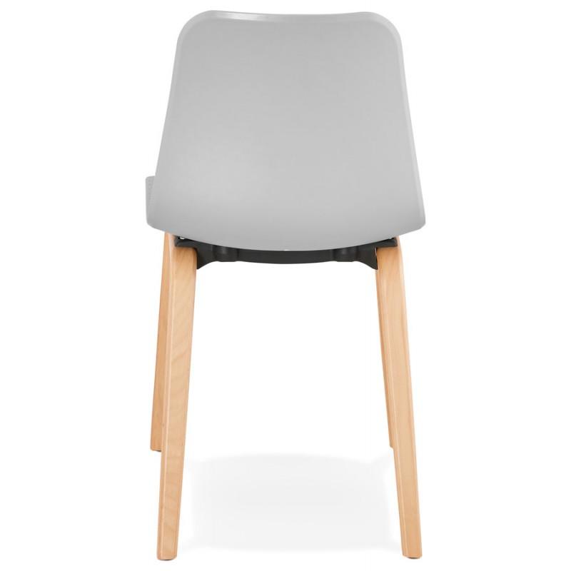 Stuhl Design skandinavischen Fuß Holz natürliche Oberfläche SANDY (hellgrau) - image 48057