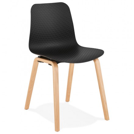 Sedia scandinava design piede in legno finitura naturale SANDY (nero)