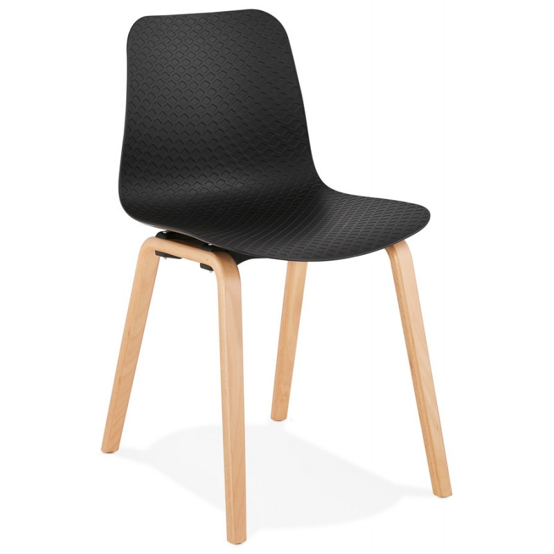 Chaise design scandinave pied bois finition naturelle SANDY (noir)