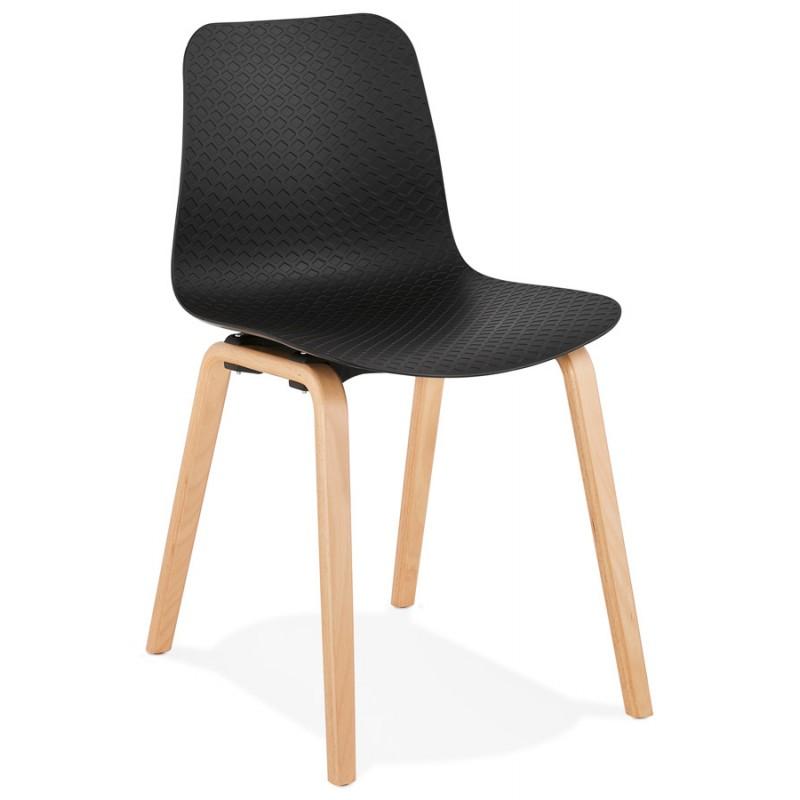 Silla de diseño escandinavo pie de madera acabado natural SANDY (negro)