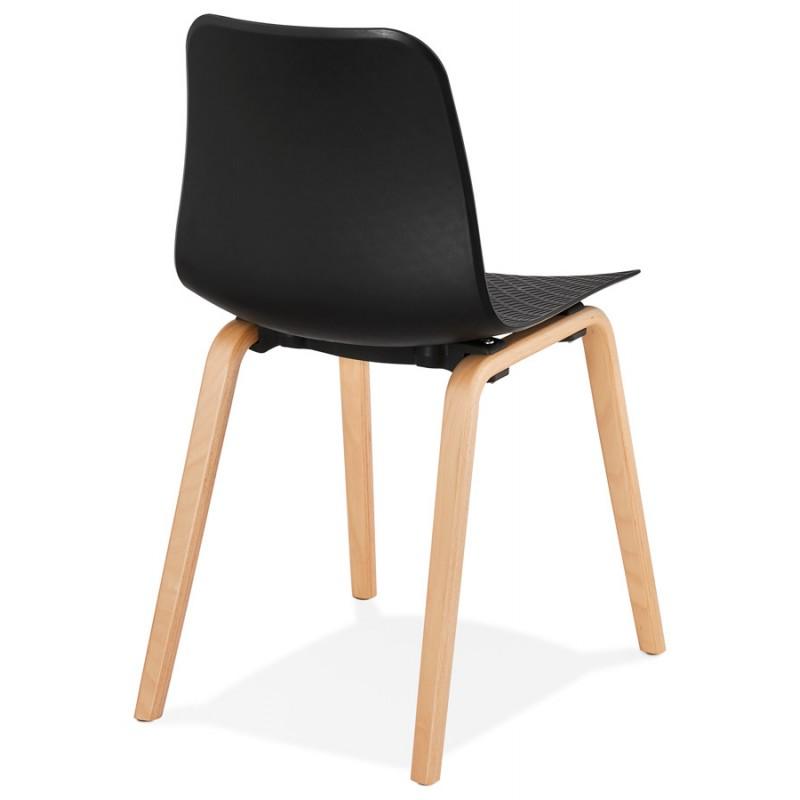 Silla de diseño escandinavo pie de madera acabado natural SANDY (negro) - image 48071