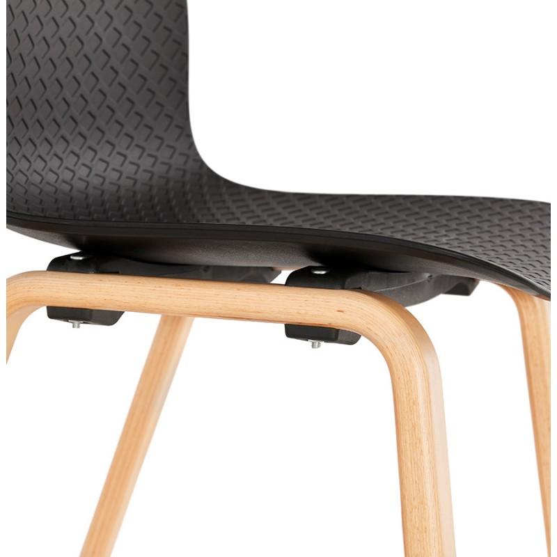 Silla de diseño escandinavo pie de madera acabado natural SANDY (negro) - image 48076