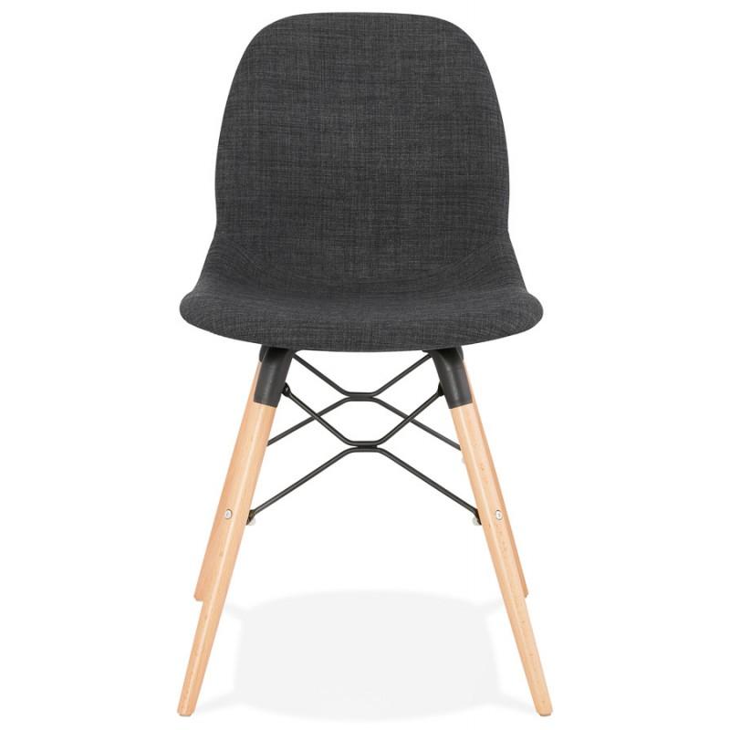 Chaise design et scandinave en tissu pieds bois finition naturelle et noir MASHA (gris anthracite) - image 48094