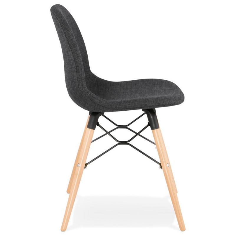 Chaise design et scandinave en tissu pieds bois finition naturelle et noir MASHA (gris anthracite) - image 48095