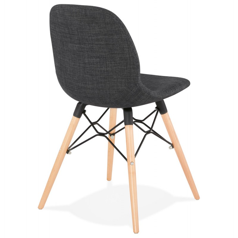 Design chair and Scandinavian fabric feet wood natural finish and black MASHA (anthracite grey) - image 48096