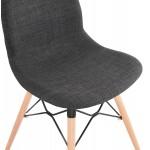Sedia di design e piedi scandinavi finitura naturale in legno e MASHA nero (grigio antracite)