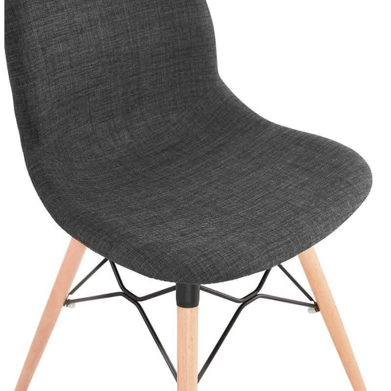 Design chair and Scandinavian fabric feet wood natural finish and black MASHA (anthracite grey) - image 48099