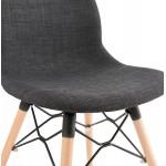 DesignStuhl und skandinavischen Stoff Füße Holz natürliche Oberfläche und schwarz MASHA (anthrazitgrau)